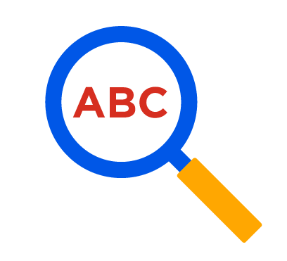 A blue magnifying glass with yellow handle, highlighting red letters a, b, and c