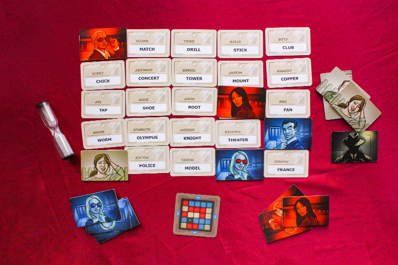 Example of the boardgame Codenames, shows the five by five grid of cards with words, with the key.