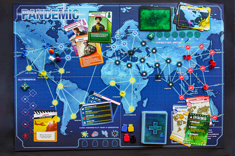 Pandemic boardgame example. Shows a world map, character cards, tokens, and icons.