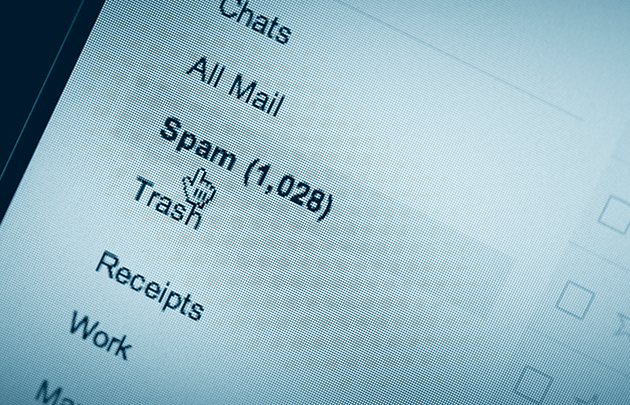 An email inbox showing 1,028 spam messages
