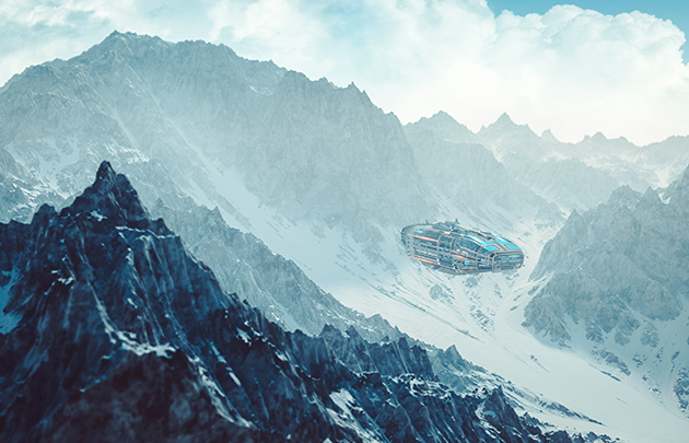 A snowy mountain range with an alien spaceship landing in the valley