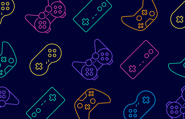 A multicolored pattern of videogame controllers