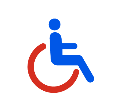 The disabled person pictogram, featuring a blue person in a red wheelchair.